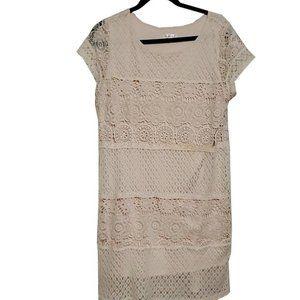 Women Xhilaration Cream Crochet Embroidered Dress